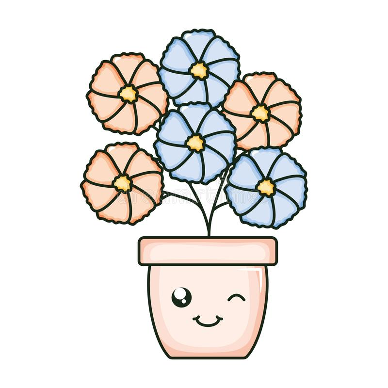 Flowers garden in ceramic pot kawaii character. Vector illustration design stock illustration