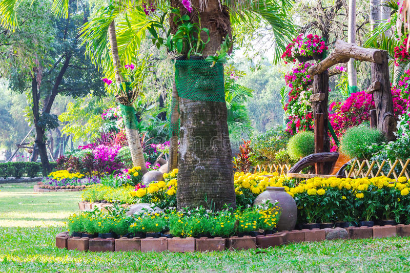 Flowers in the garden. Landscaped flower garden with lots of colorful blooms stock photos