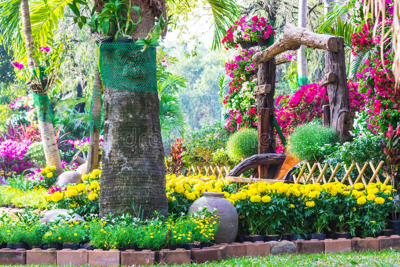 Flowers in the garden. Landscaped flower garden with lots of colorful blooms stock photography