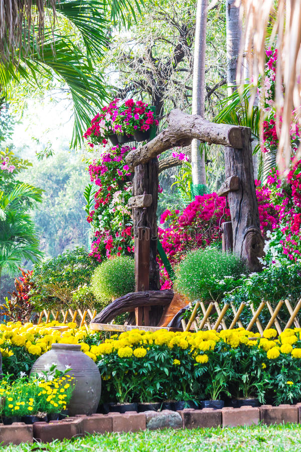 Flowers in the garden. Landscaped flower garden with lots of colorful blooms royalty free stock photos
