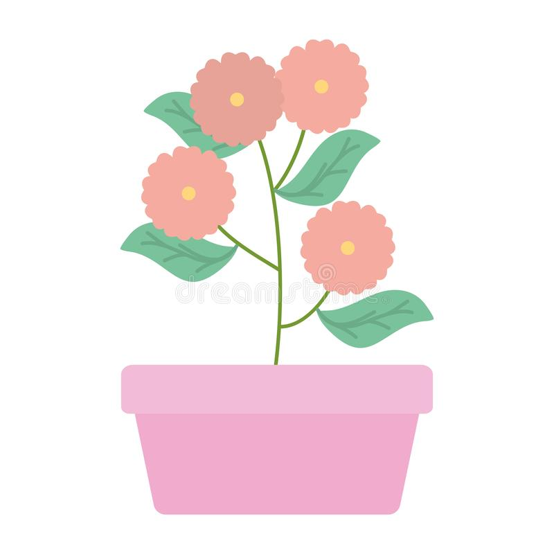 Flowers garden in square ceramic pot decoration. Vector illustration design stock illustration