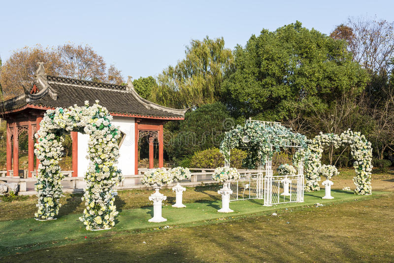 Flowers gate and pavilion royalty free stock photo
