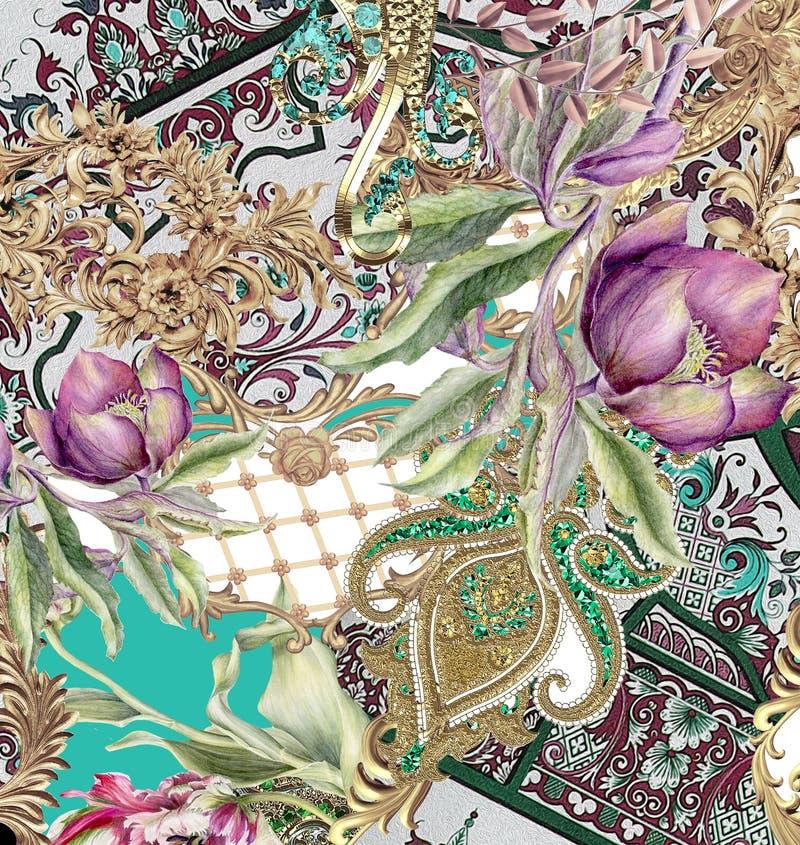 Flowers geometric barroque colors design stock illustration