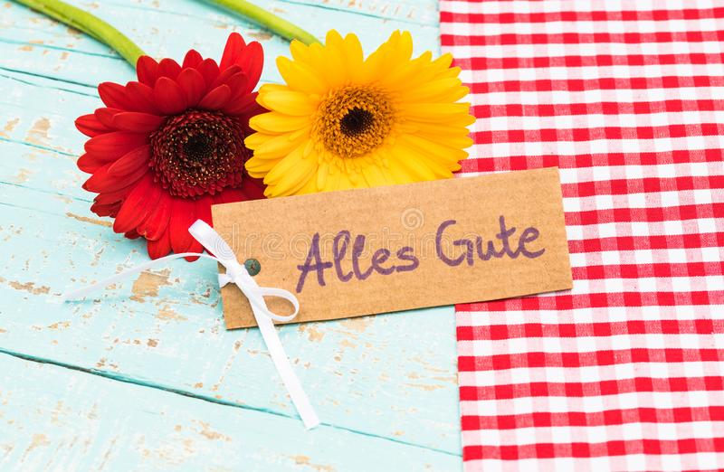 Flowers And Card With German Text, Alles Liebe, Means Love For