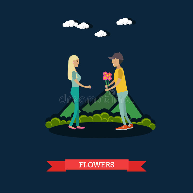 Flowers for girlfriend vector illustration in flat style. Vector illustration of happy loving couple having got a date. Young man giving bouquet of flowers to royalty free illustration