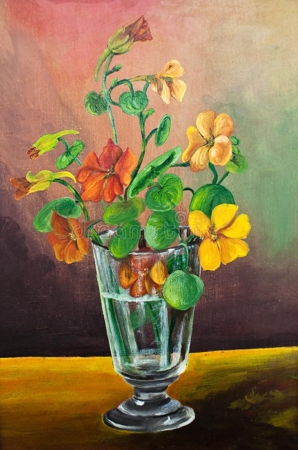 Flowers in a glass oil painting stock photography