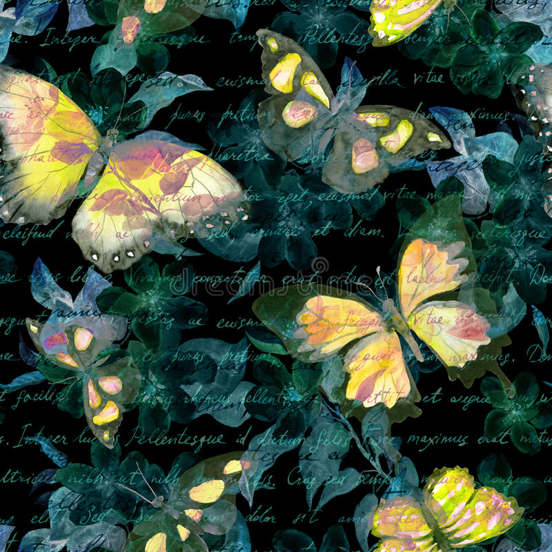 Flowers, glowing butterflies, hand written text note at black background. Watercolor. Seamless pattern stock illustration