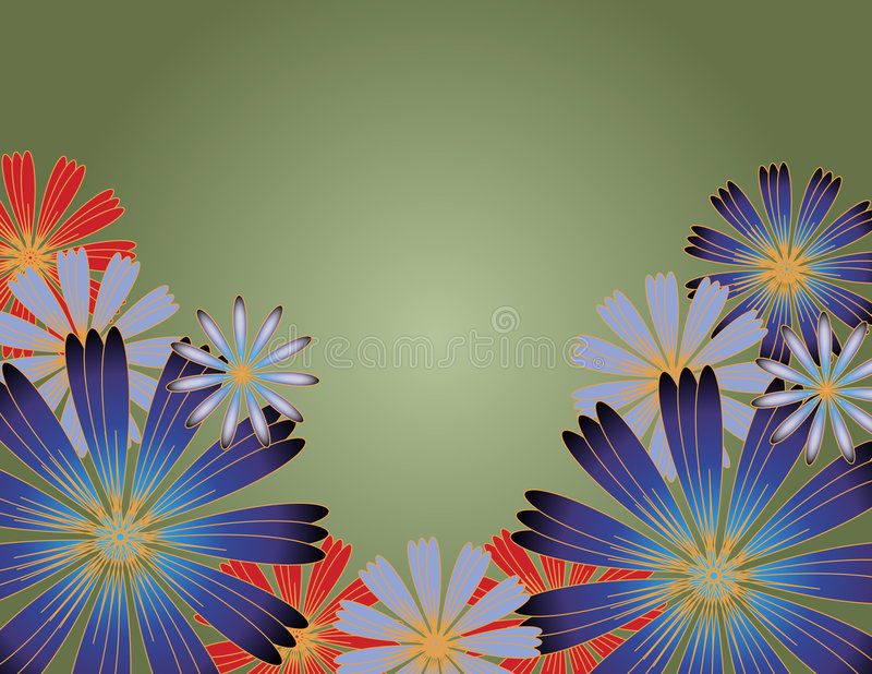 Flowers with gradient background vector illustration