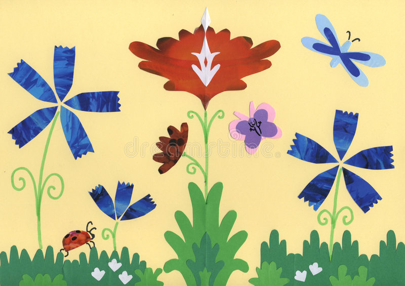 Flowers, grass and cute insect stock illustration