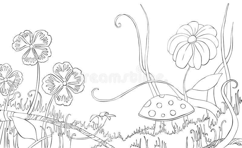 Flowers, grass and mushroom on the meadow. Coloring book. vector illustration