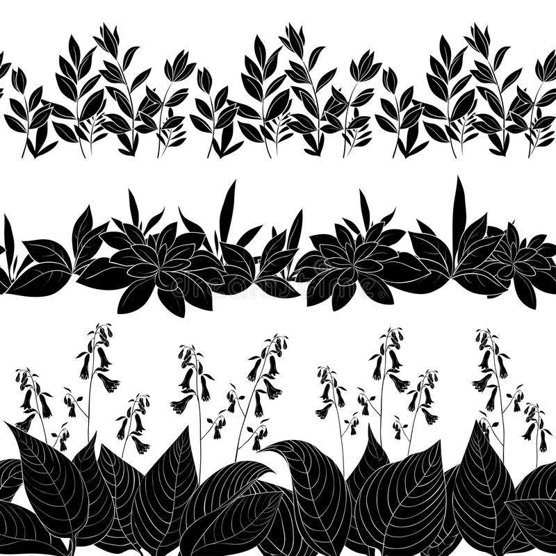 Flowers and grass silhouette, set seamless royalty free illustration