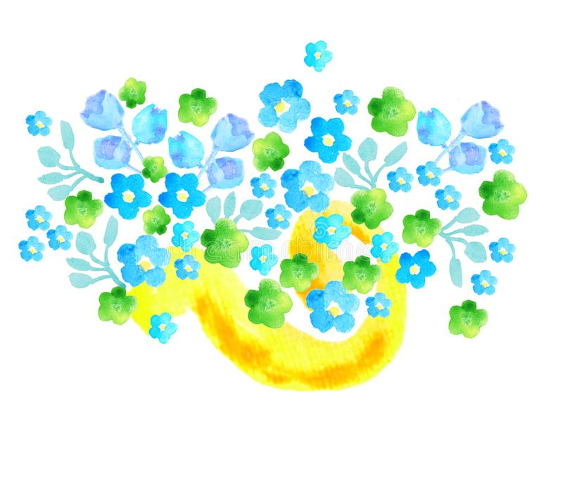 Flowers green, yellow, blue with yellow band stock illustration
