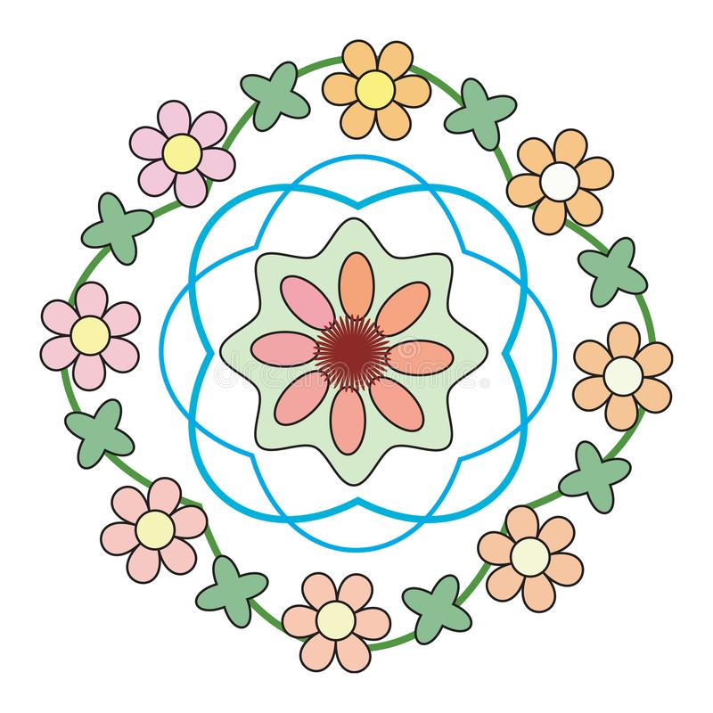 Flowers green, yellow, pink in a circle royalty free illustration