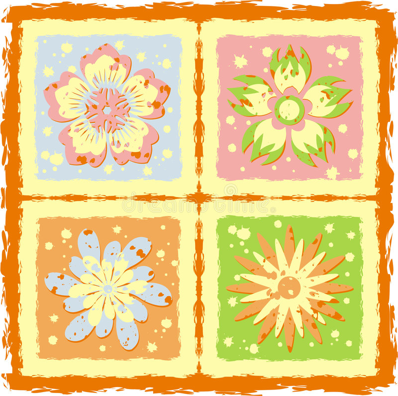 Flowers grunge texture, vector vector illustration