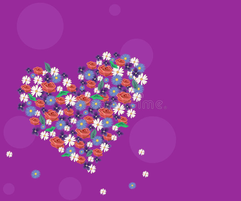 Download Flowers and heart stock vector. Image of flora, blossom - 12938820