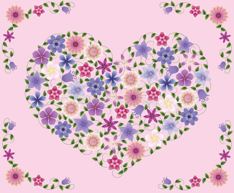 Flowers_heart. illustration de vecteur