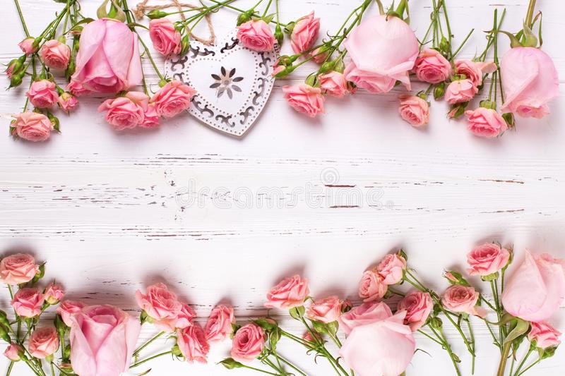 Flowers and heart stock photo