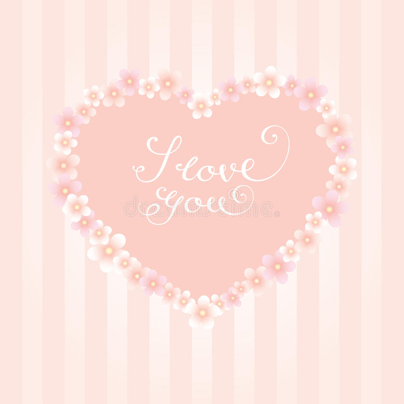 Flowers heart I love you calligraphy stripes vector illustration