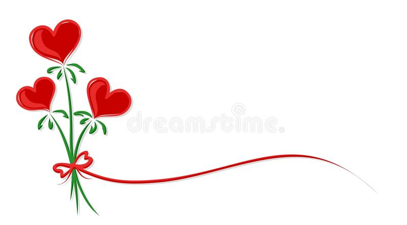 Flowers with heart. vector illustration