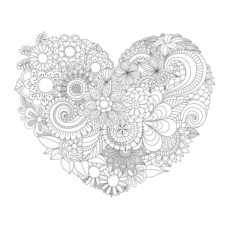 Flowers In The Heart Shape Pattern For Coloring Book Stock Vector ...