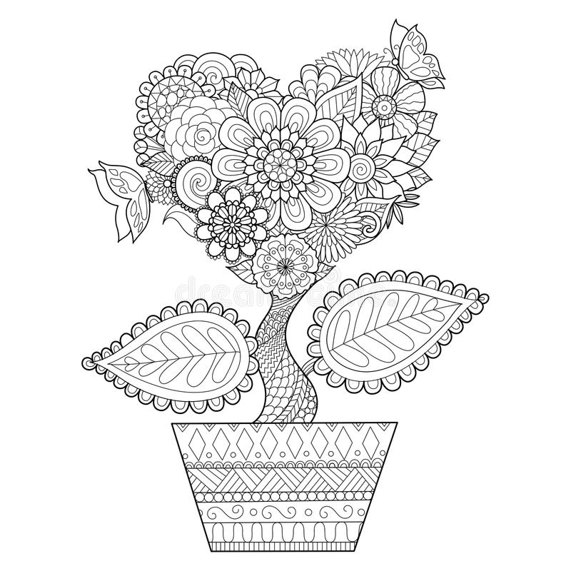Flowers in heart shape on a pot line art design for coloring book for adult, tattoo, T- Shirt graphic, cards and so on vector illustration