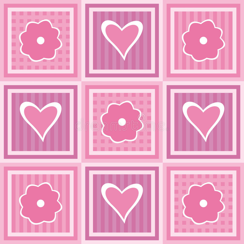 Flowers and hearts royalty free illustration