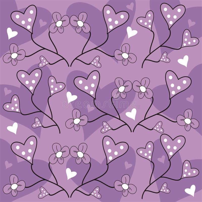 Flowers and hearts vector illustration