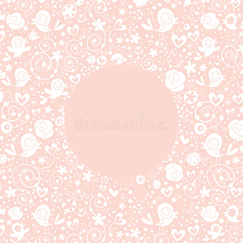 Flowers, hearts, birds love nature circle frame pastel bright background vector illustration