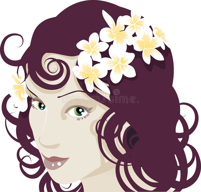 Flowers in her hair royalty free illustration