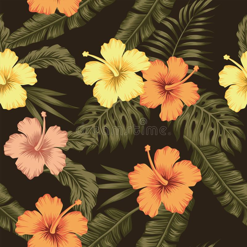 Flowers hibiscus tropical green banana leaves seamless pattern b royalty free illustration