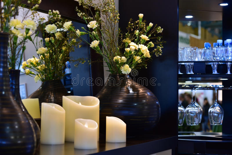 Flowers and home decore interior stock photos