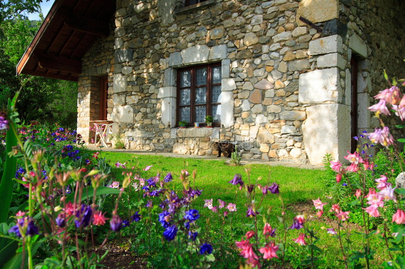 Flowers and house. Beautiful flowers and garden with a stone-built house in the the french countryside (chartreuse stock image