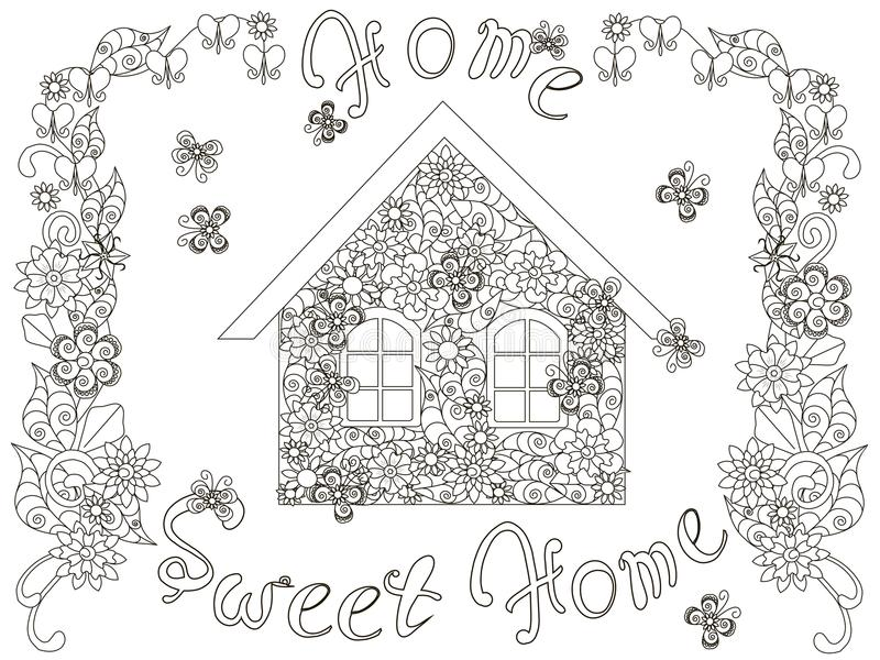 Download Flowers House With Lettering Home Sweet And Floral Frame For Coloring Page Anti
