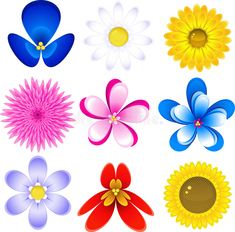 Download Flowers icon set stock vector. Image of objects, descriptive - 8082520