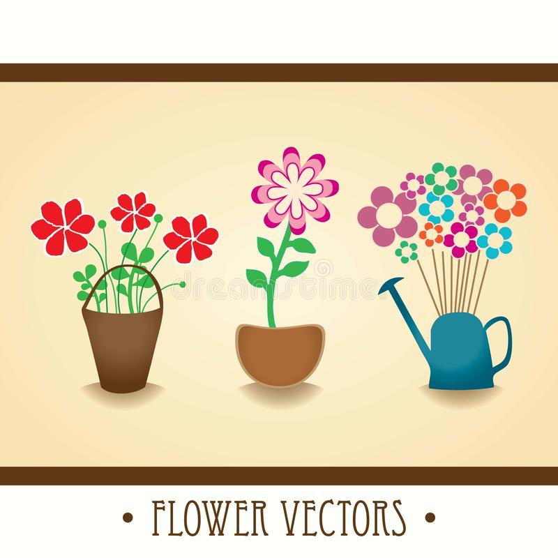 FLOWERS ICONS. Vintage collection of houseplants with flowers vector illustration royalty free illustration