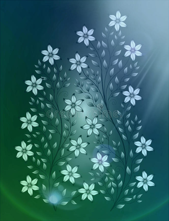 Flowers illustration on colourful background royalty free stock photos