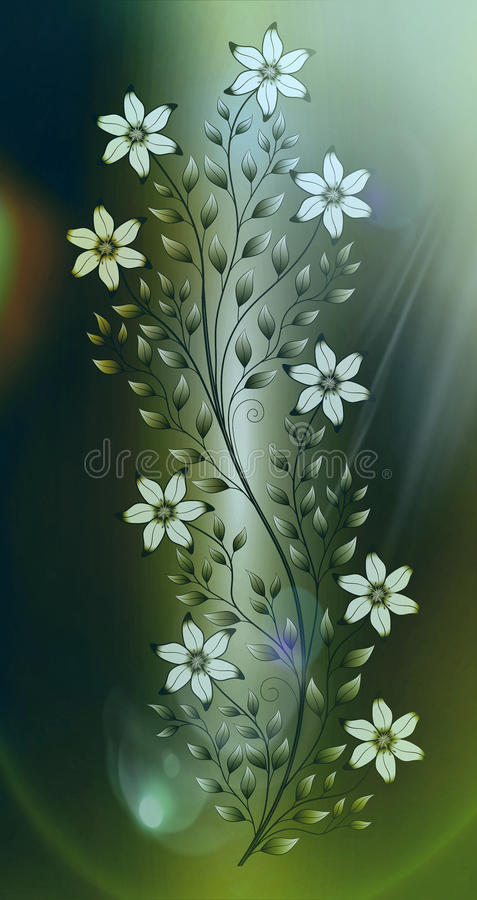 Flowers illustration on colourful background stock images