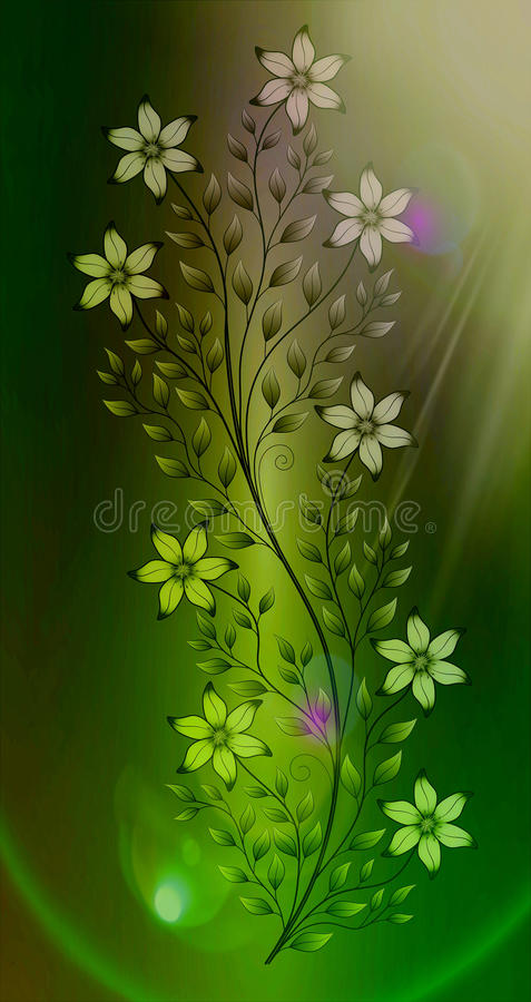 Flowers illustration on colourful background royalty free stock photography