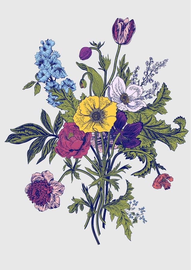 Victorian Bouquet Spring Flowers Vintage Botanical Illustration Vector Design Element