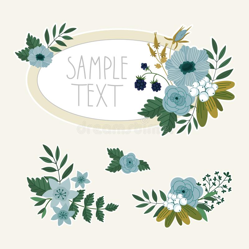 Bitmap flowers collection. Flowers isolated collection. Bitmap flowers and floral. Vintage and retro flowers and floral elements vector illustration