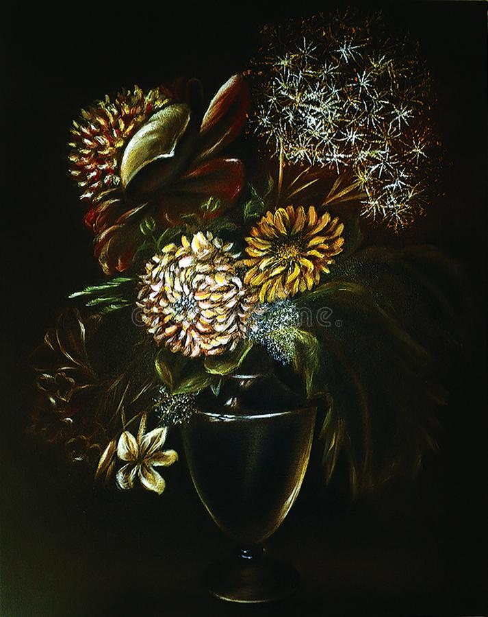 Flowers in a jug. Painting. Oil on canvas. stock images