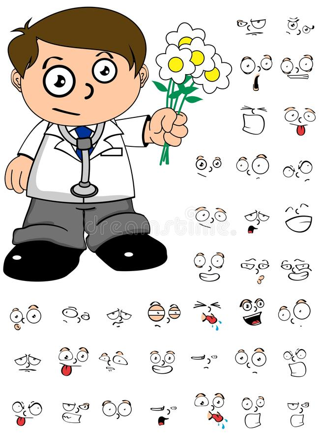 Flowers kid doctor cartoon expresion set. Young kid doctor cartoon expresion set in vector format vector illustration