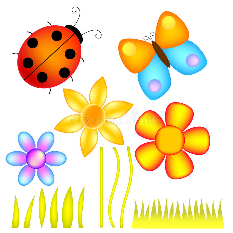 Flowers, Lady Bug and Butterfly vector illustration