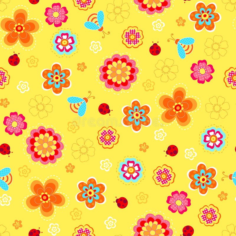 Download Flowers And Ladybugs Seamless Repeat Pattern Stock Vector - Image: 8900783