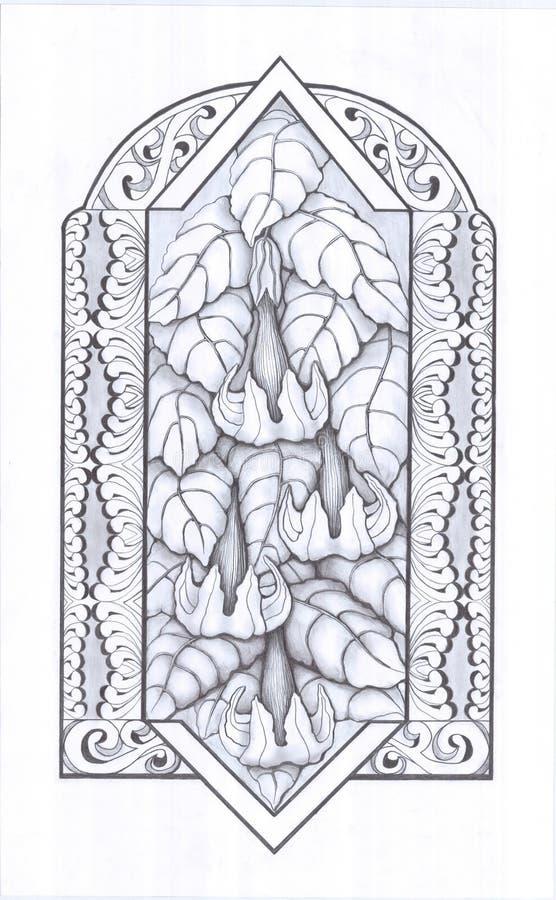 Flowers_and_leaves vektor illustrationer