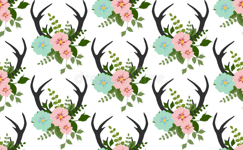 Flowers, leaves, antlers seamless pattern vector. Flowers, leaves, antlers seamless pattern.vector.fabricDesign element for wallpapers, web site background, baby stock illustration