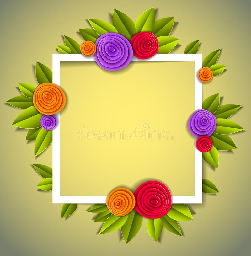 Flowers and leaves beautiful background or frame with blank copy royalty free illustration