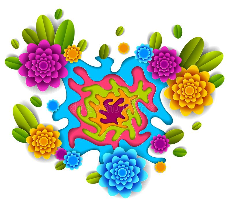 Flowers and leaves beautiful design, vector illustration in paper cut style. stock illustration