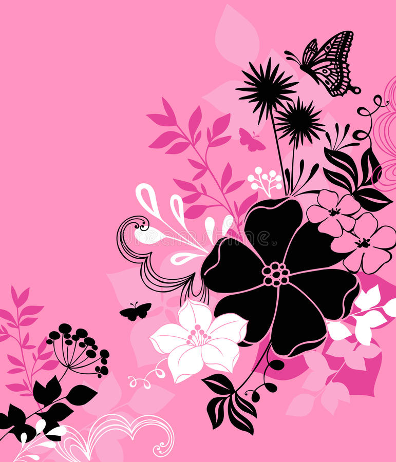 Flowers, Leaves, and Butterfly Illustration Vector vector illustration