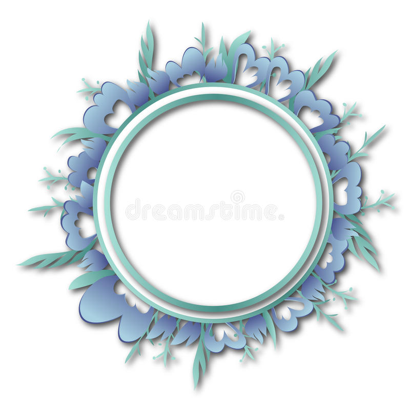 Flowers and leaves circular frame add write text stock image